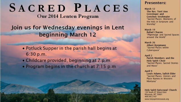 Sacred Places, our Wednesday evening Lenten program, March 12-April 9