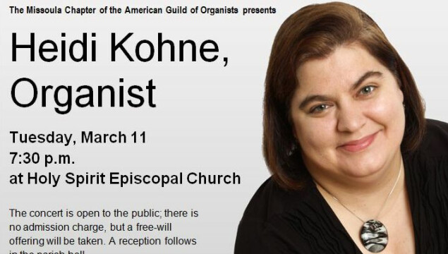 Join us for an organ recital Tuesday, March 11, at 7:30 p.m. at Holy Spirit