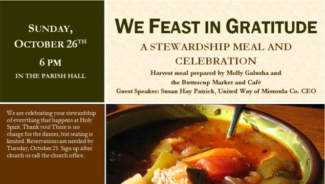 Sharing our gifts of time, talent and treasure. Stewardship Sunday is November 2.