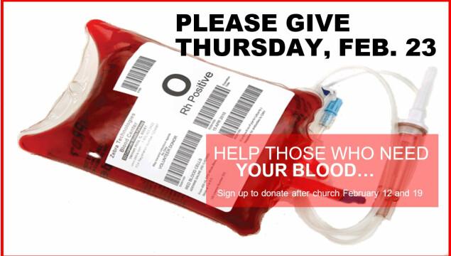Holy Spirit Red Cross Blood Drive, February 23