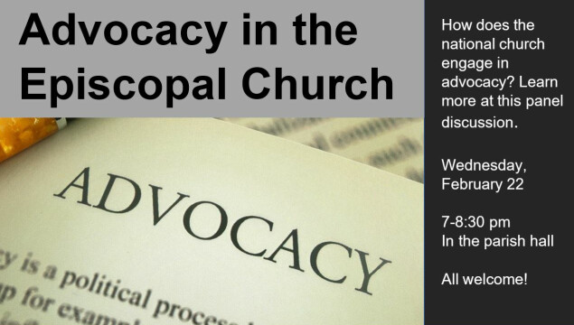 Panel Discussion on Advocacy in the Episcopal Church, Feb. 22