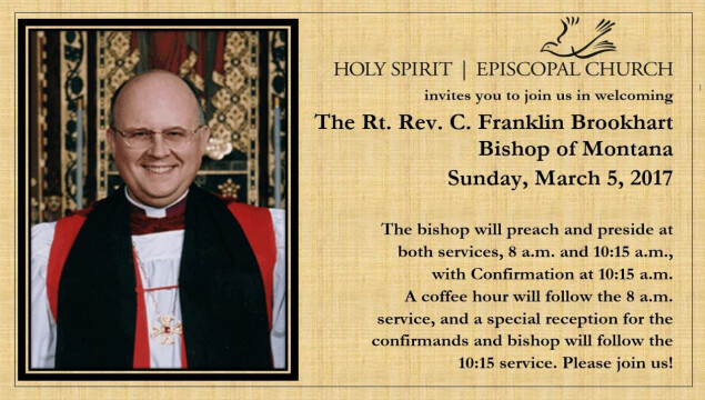 Bishop Brookhart's annual visitation is March 5; services at 8 and 10:15 am