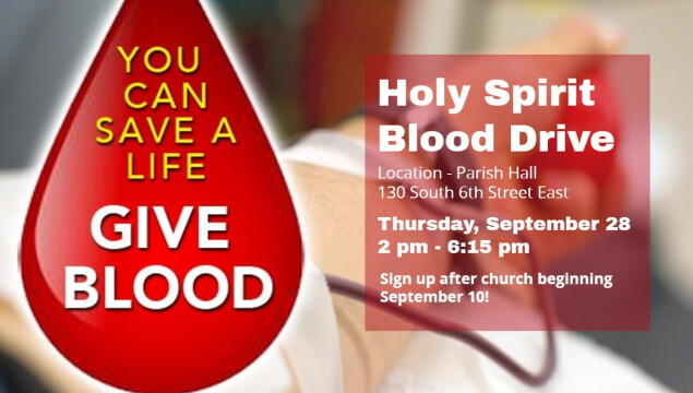 Holy Spirit Blood Drive - Thursday September 28