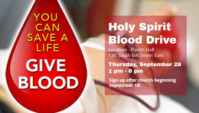 Holy Spirit Blood Drive - Thursday September 28