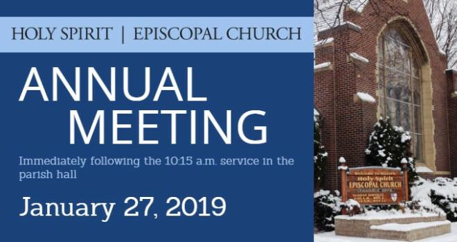 11:30 am Annual Meeting; Vestry meeting follows