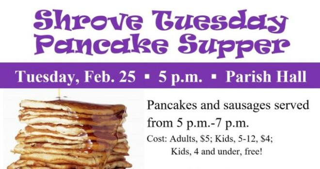 5 to 7 pm Shrove Tuesday Pancake Supper